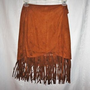 Wrap skirt w fringe buckskin suede